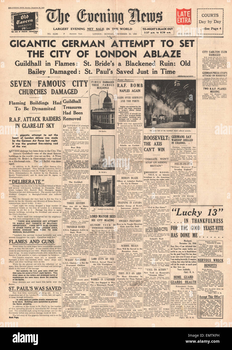 1940 front page Evening News (London) Big bombing raid on London Roosevelt rallying call to America - Stock Image