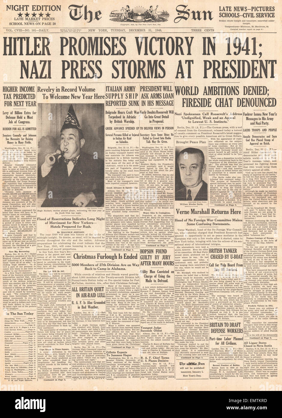 1940 front page The Sun (New York) Hitler promises victory in 1941 German press criticise President Roosevelt - Stock Image