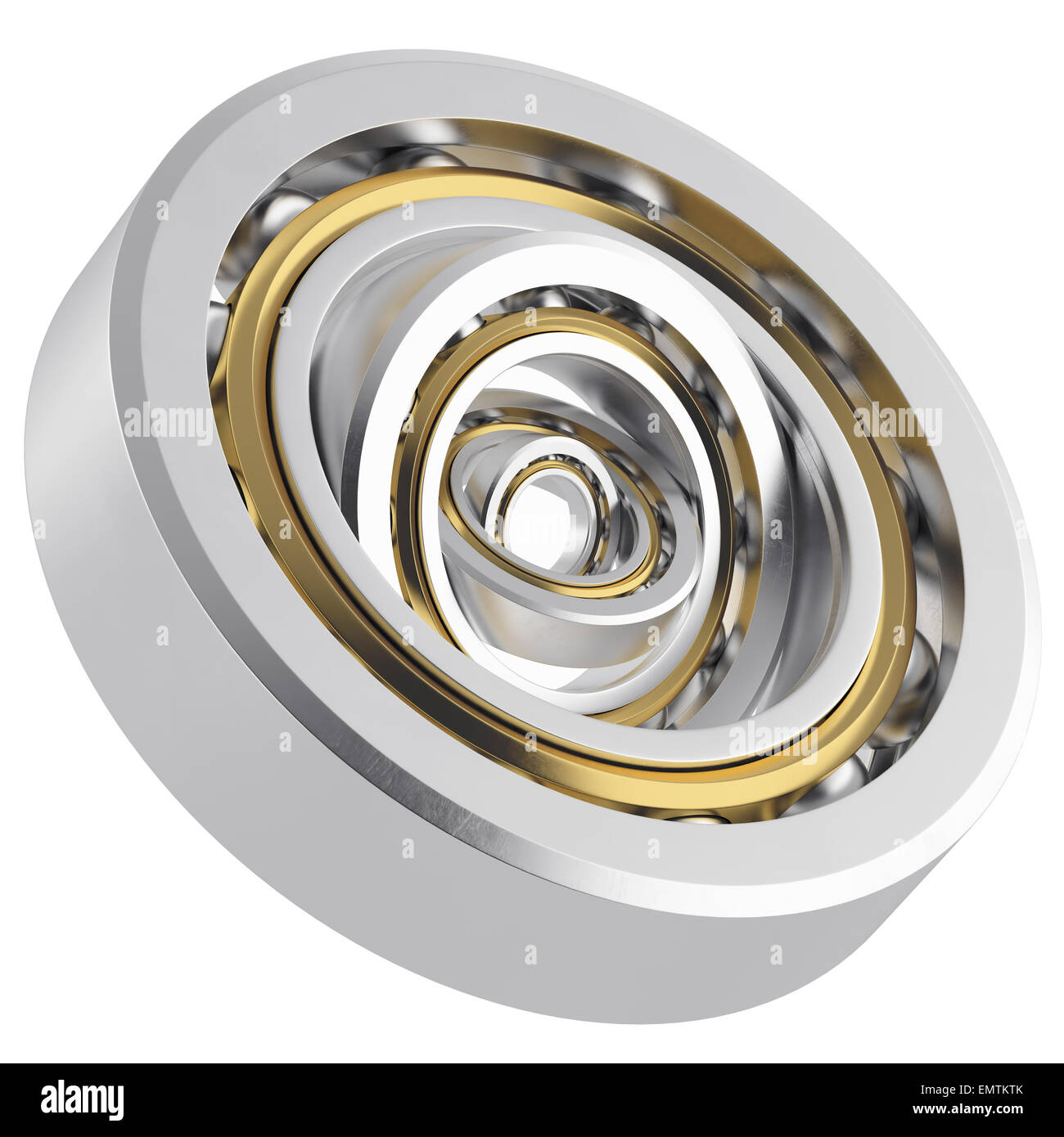 Isolated realistic whirling bearing in the bearing with light scratches on a white background. High resolution 3D - Stock Image