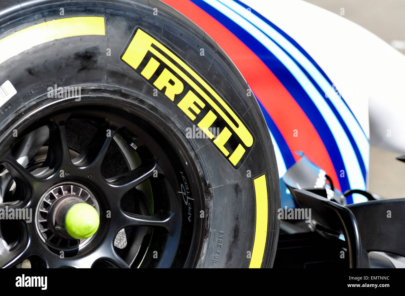 2014 Williams Formula One car - Pirelli P Zero tyre - Stock Image