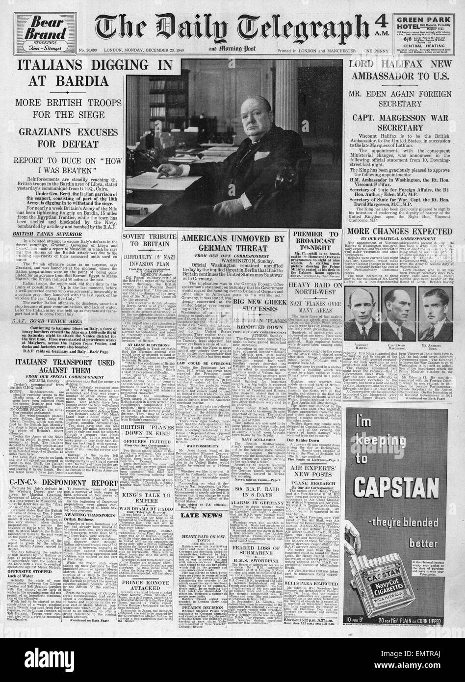 1940 front page Daily Telegraph Cabinet reshuffle, British forces ready to take Bardia Hitler threatens U.S. for - Stock Image