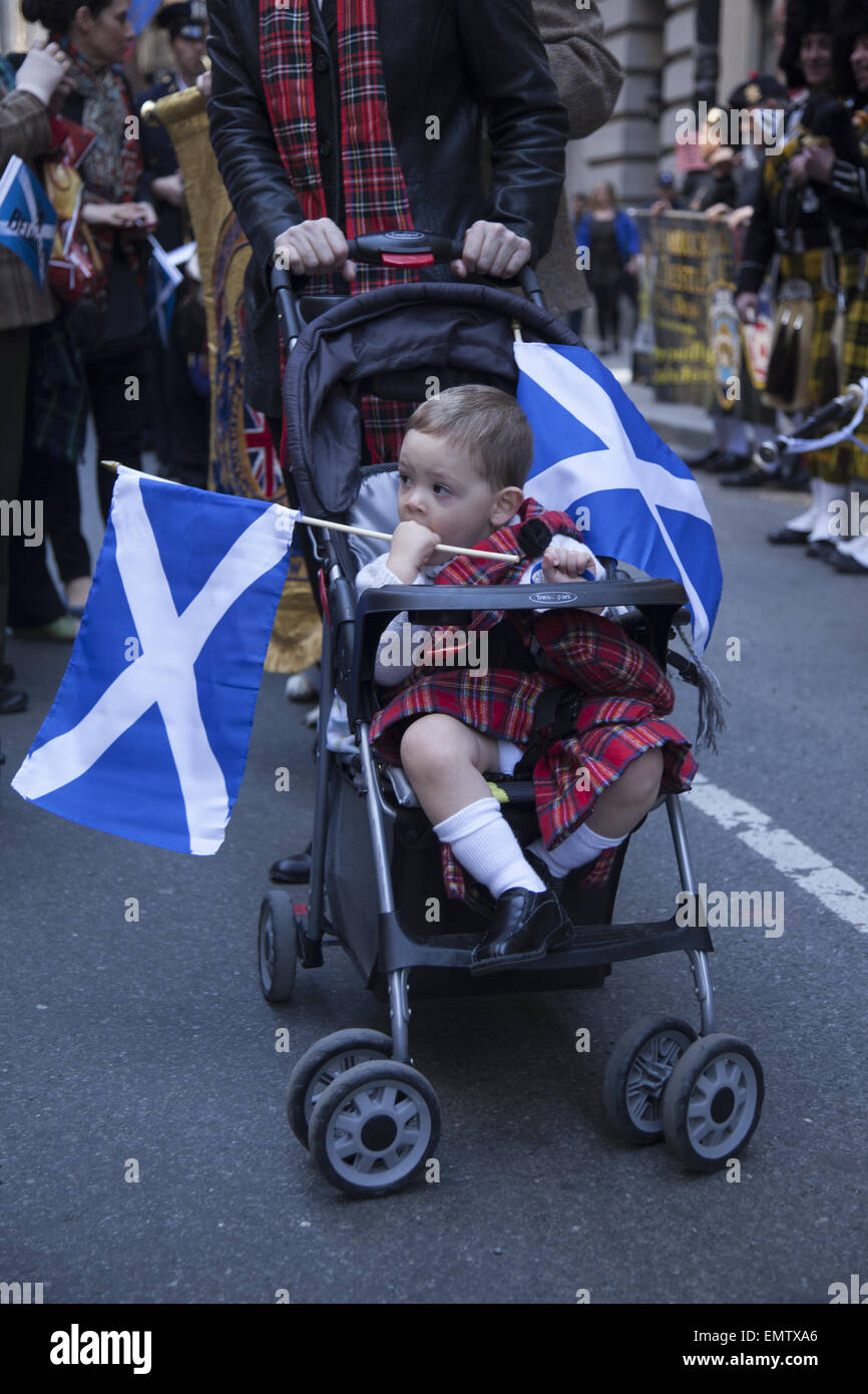 The annual Tartan Parade celebrates everything Scottish in New York City every spring. - Stock Image
