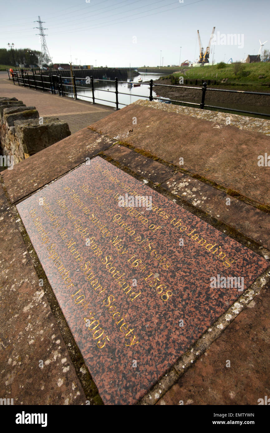 UK, Cumbria, Workington, Quay, plaque remembering 1568 landing of Mary Queen of Scots - Stock Image