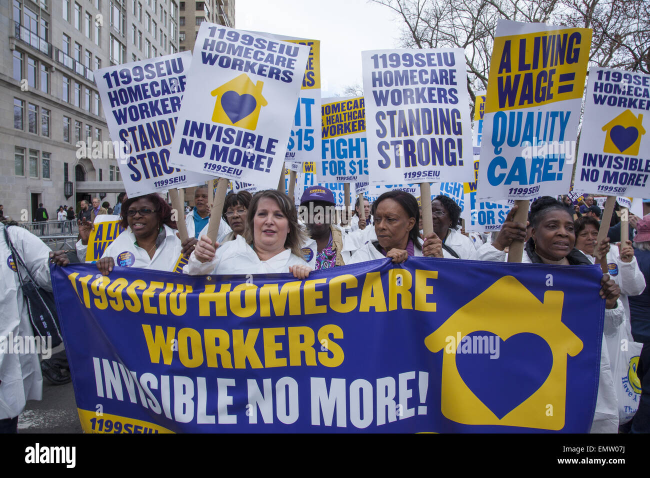 Various unions, fast food workers, home healthcare providers & others rallied in NY City for a $15 living minimum Stock Photo