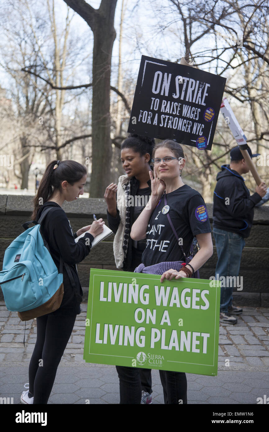 Various unions, fast food workers, home healthcare providers & others rallied in NY City for a $15 living minimum - Stock Image