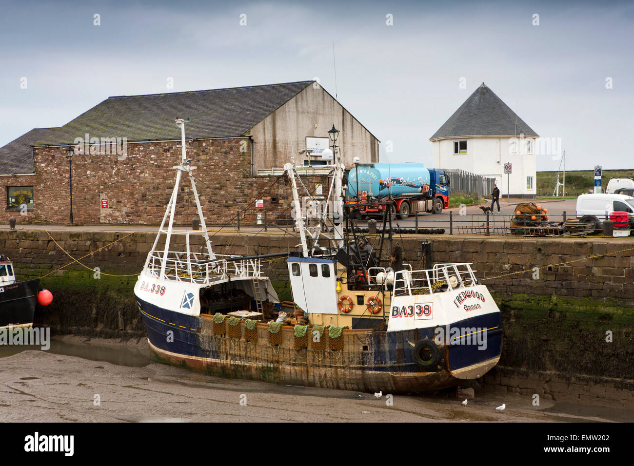 UK, Cumbria, Maryport Harbour, Annan registered trawler