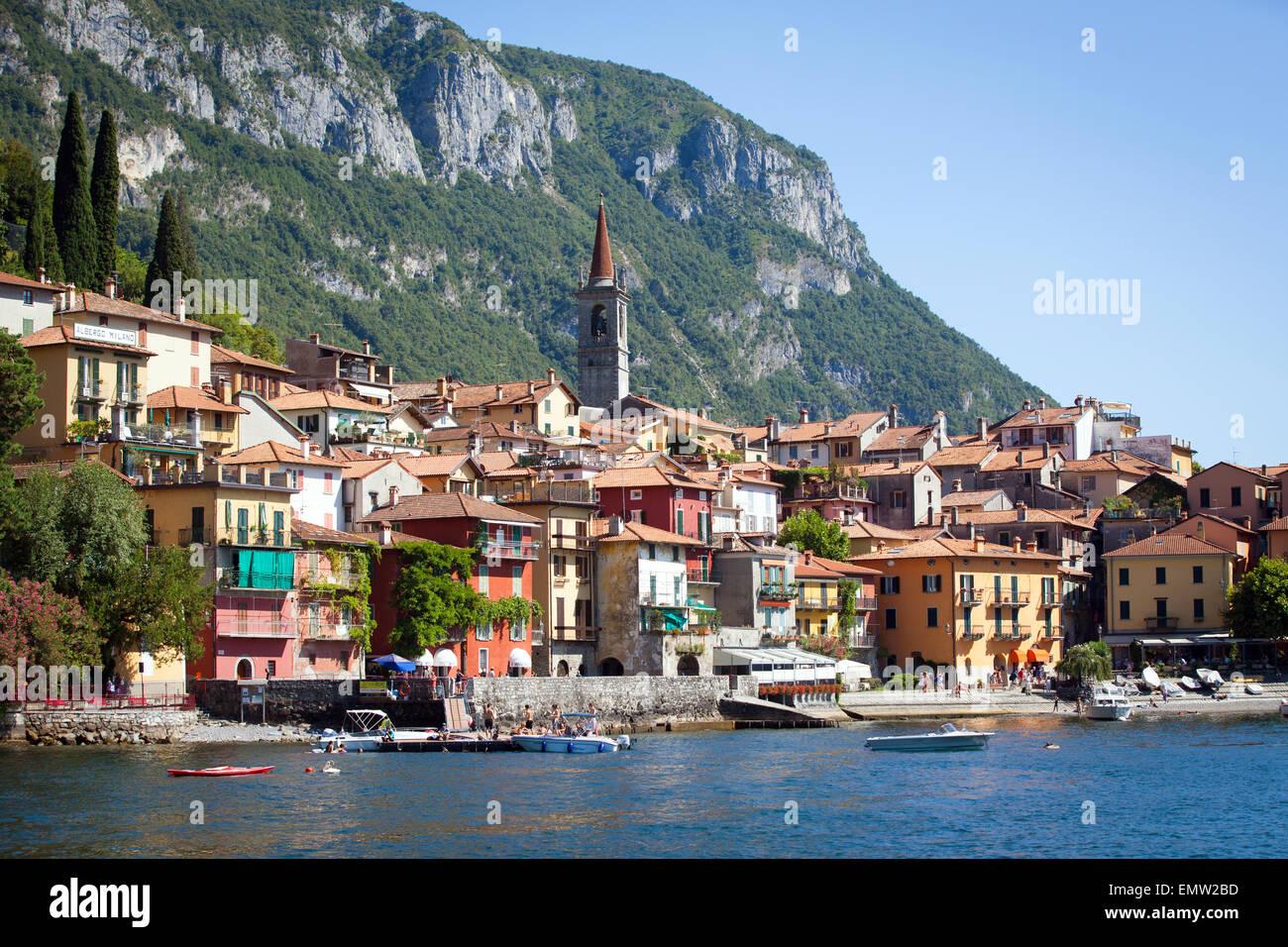 Town of Varenna in Lake Como, Italy - Stock Image