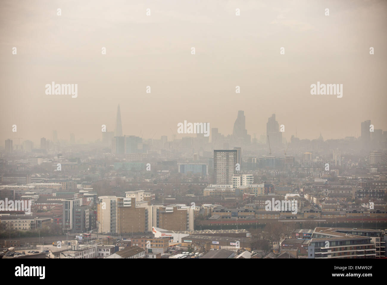 Picture shows the smog over London on Friday afternoon April 10th 2015 - Stock Image