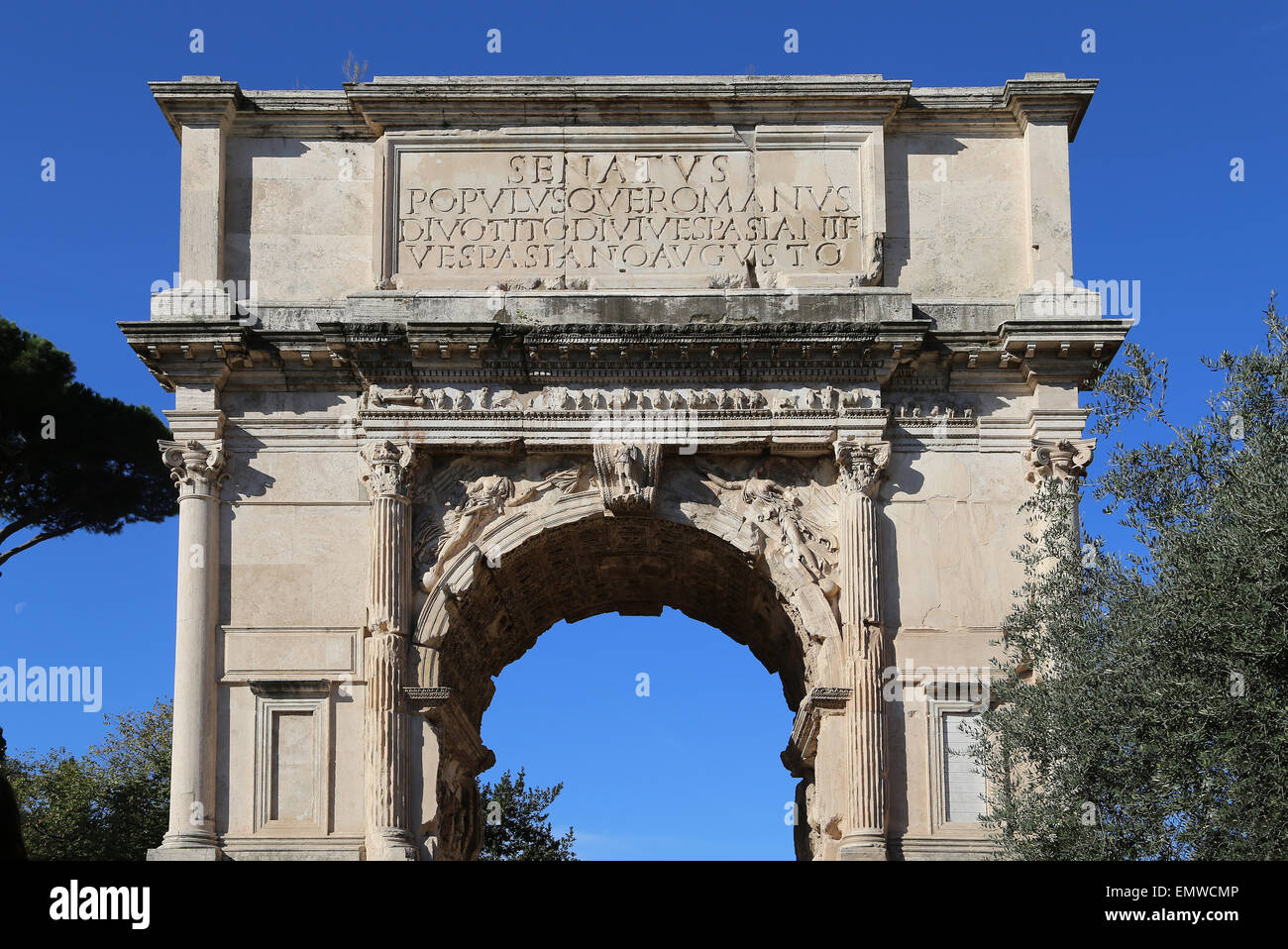 Italy. Rome. Arch of Titus. Constructed in 82 AD by the emperor Domitian to commemorate Titus' victories. - Stock Image