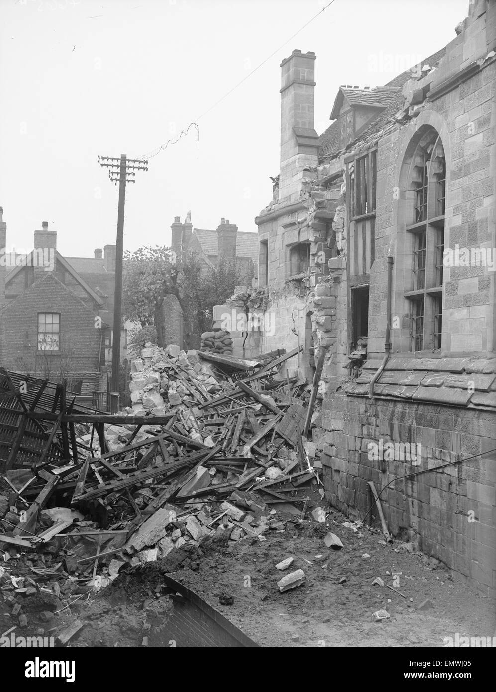 Bomb damage to the 14th century St Mary's Hall following the air raid of the 22nd October 1940. The hall was - Stock Image