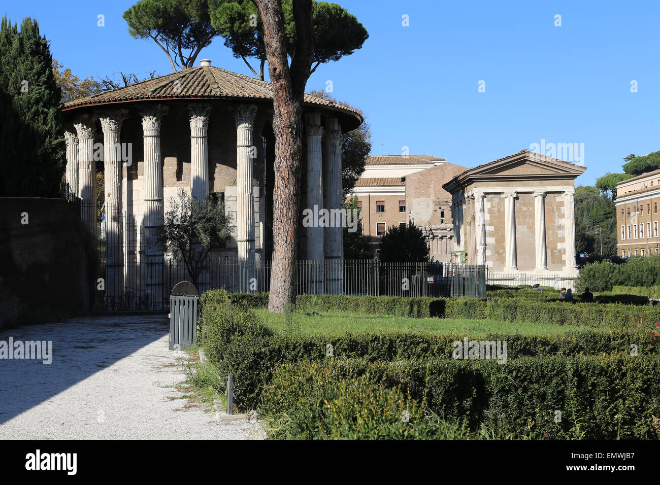 Italy. Rome. The circular temple of Hercules Victor (formerly tought to be a Temple of Vesta). Built in the second - Stock Image
