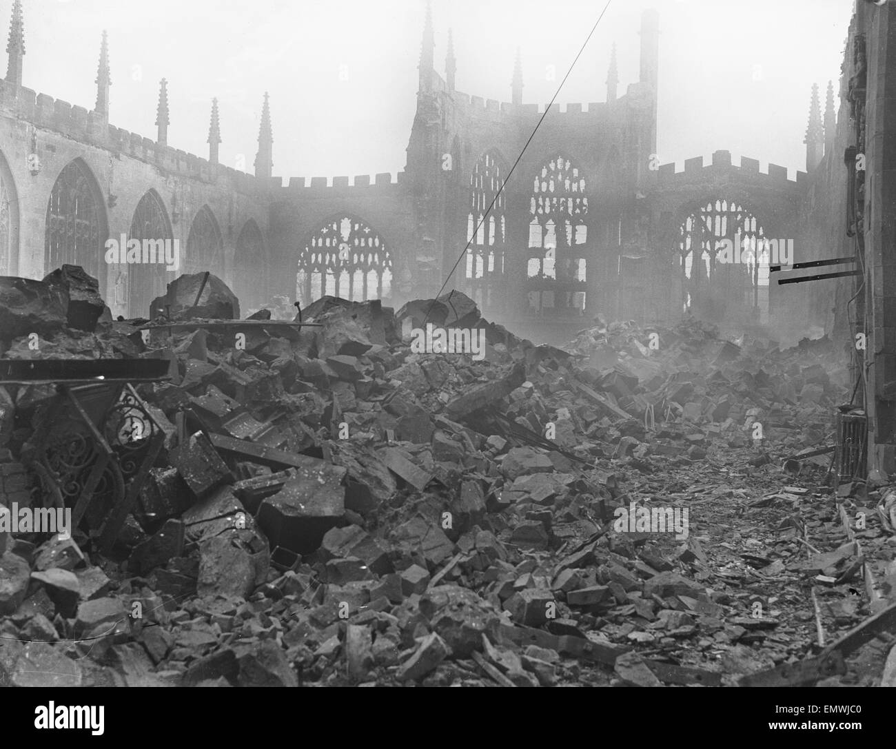 All that remains of St Michael's Cathedral following the air raid of the 14th November 1940. At the height of - Stock Image