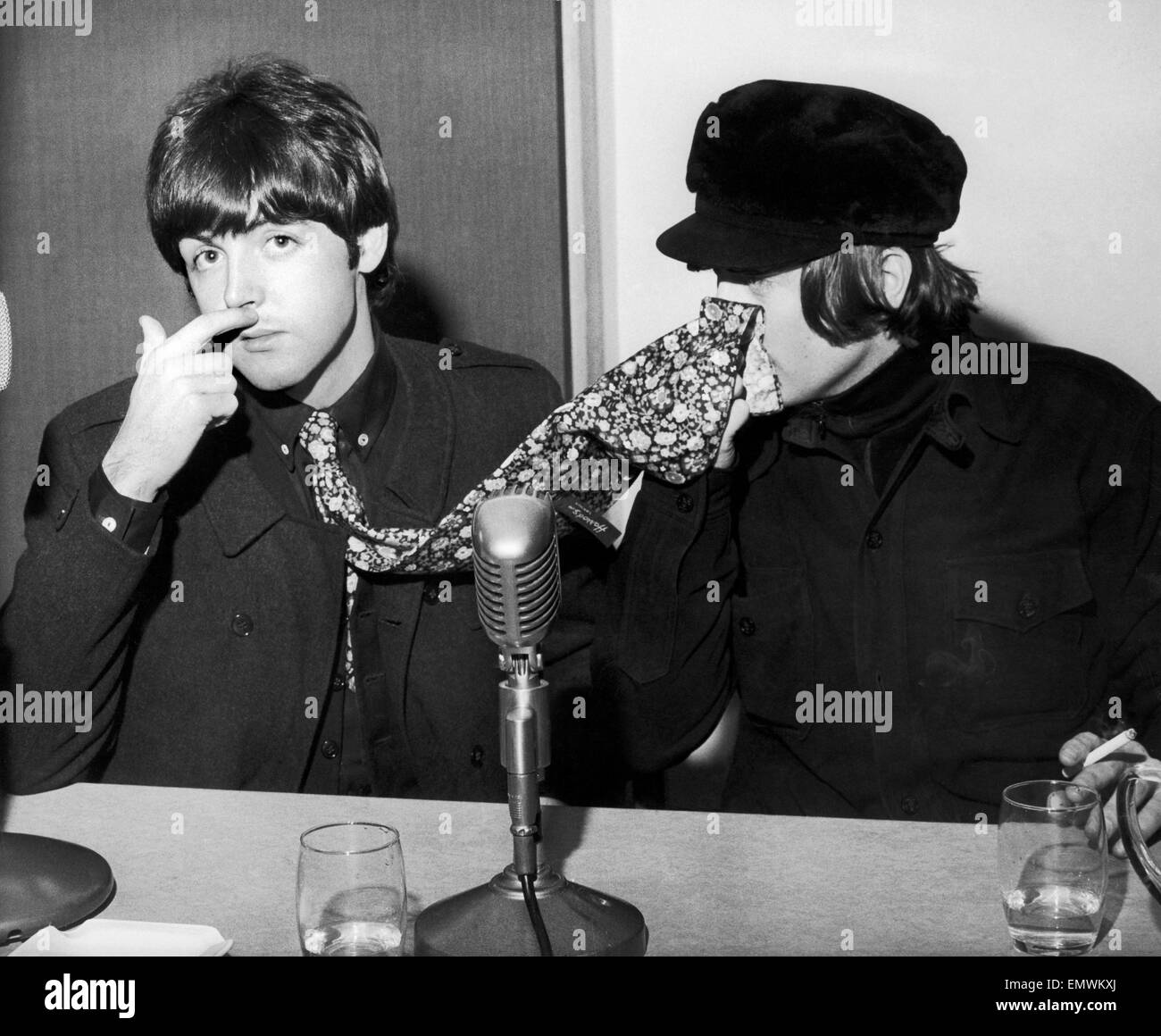 The Beatles Paul McCartney And John Lennon Pictured At A Backstage News Press Conference Odeon In Glasgow 3rd December 1965