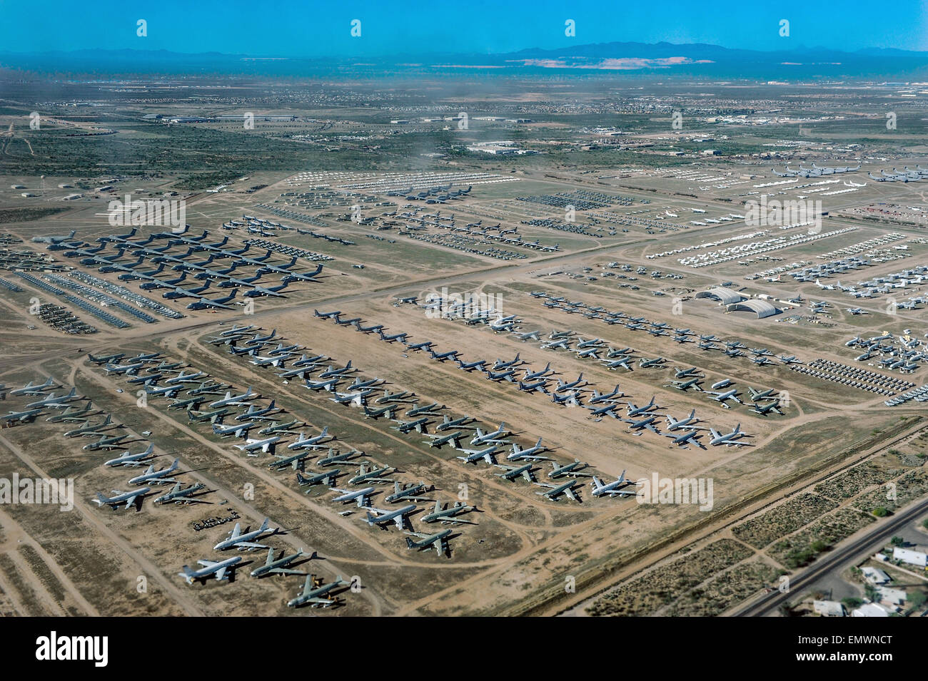 An aerial view of retired military planes parked at the 309th Aerospace Maintenance and Regeneration Group, often - Stock Image