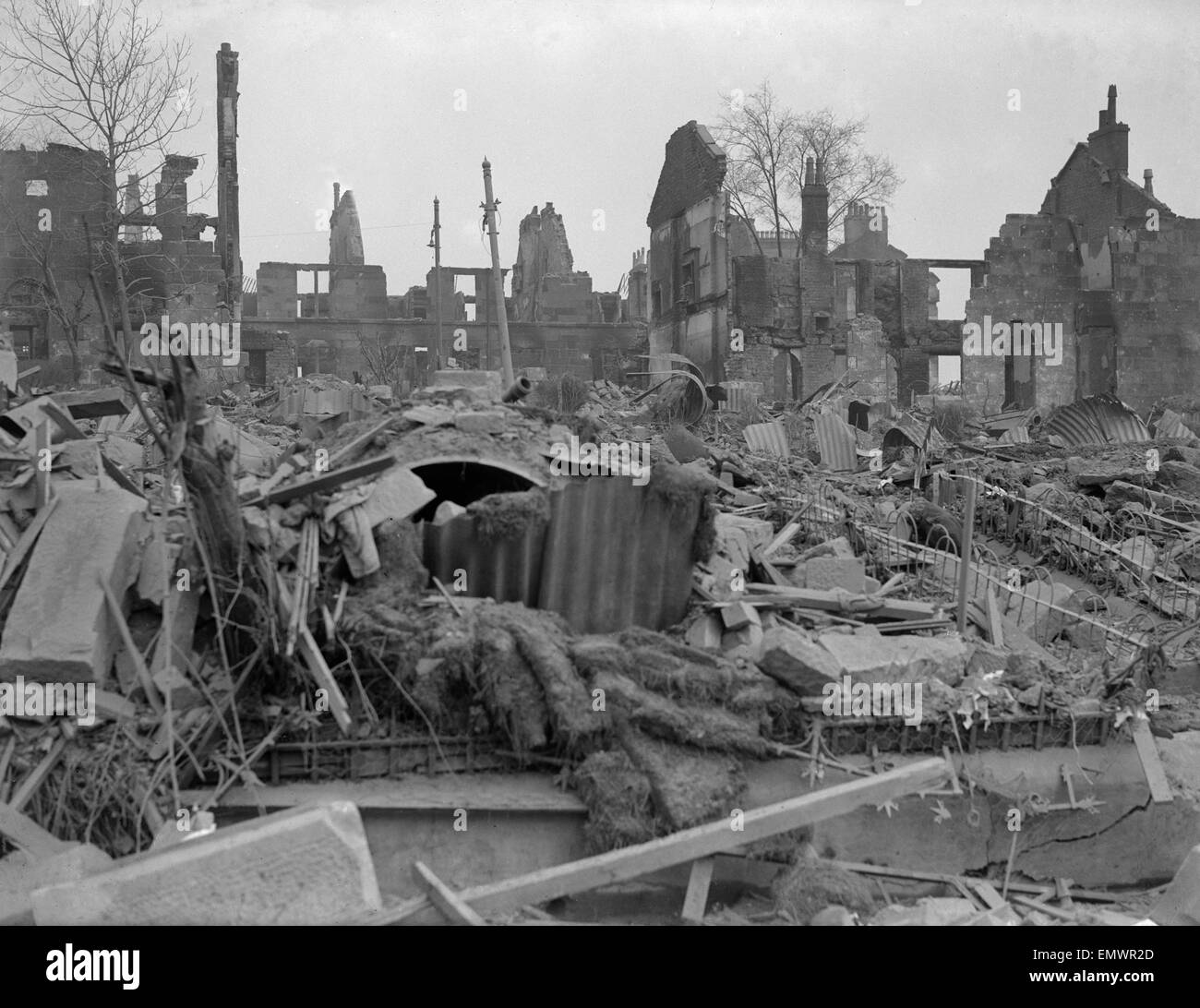 WW2 Air Raid Damage Bomb damage at Clydeside Glasgow - Stock Image