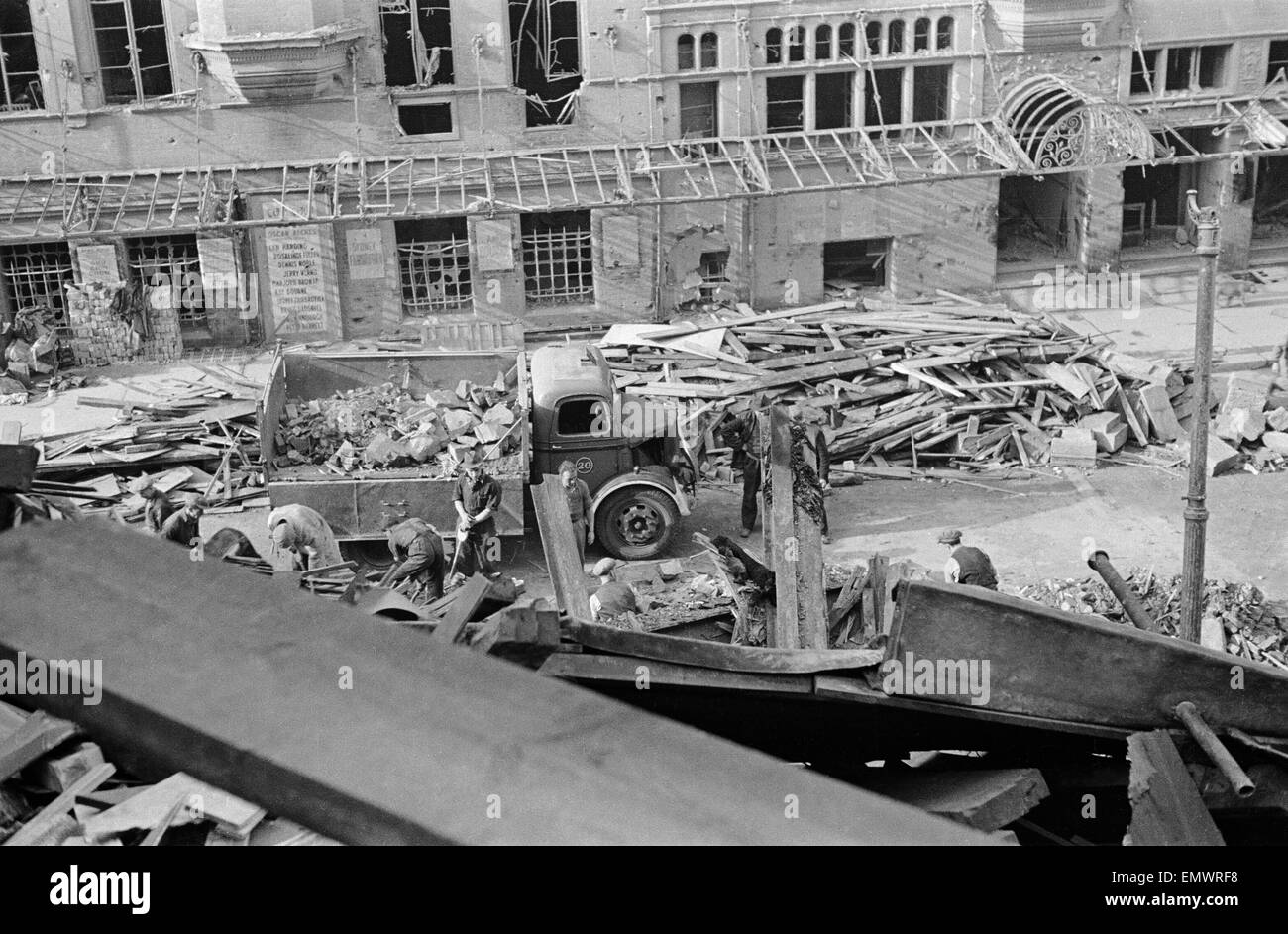 Fire station on Shaftesbury Avenue which recieved direct hit during a night raid. 17th October 1941. Stock Photo