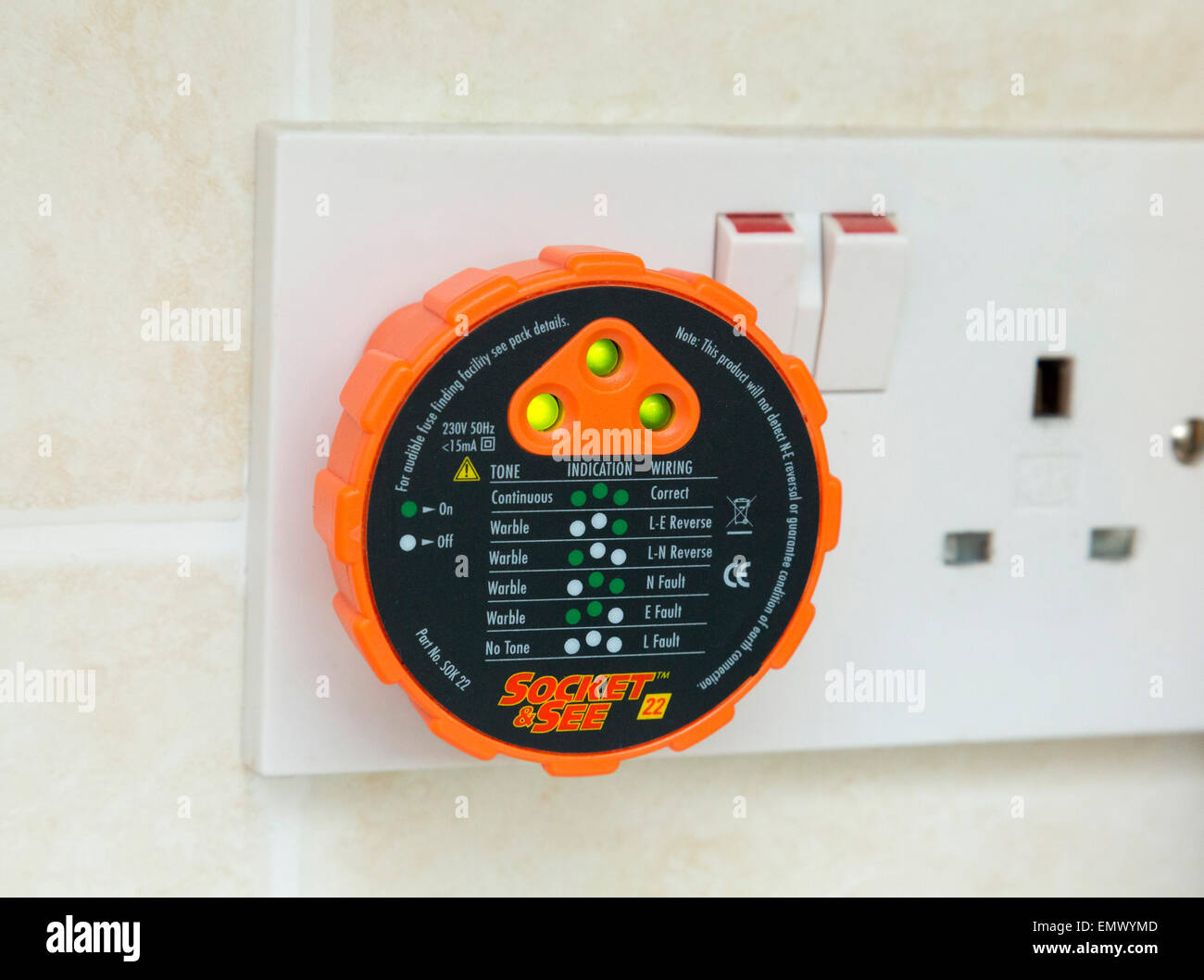 mains electrical safety tester plug - Stock Image