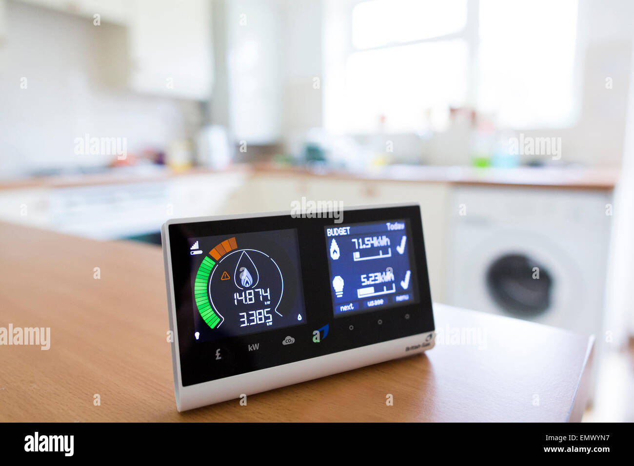 British Gas smart energy monitor in kitchen - Stock Image