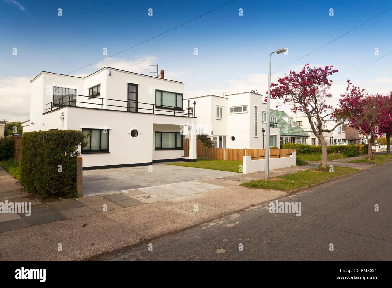art deco style house at frinton on sea essex uk stock photo