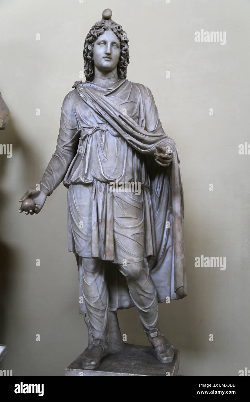 Remodeled Paris. Statue of Cautes, a minor divinity of the Mithraic cult. From Porta Portese. In 18th C. y w Stock Photo