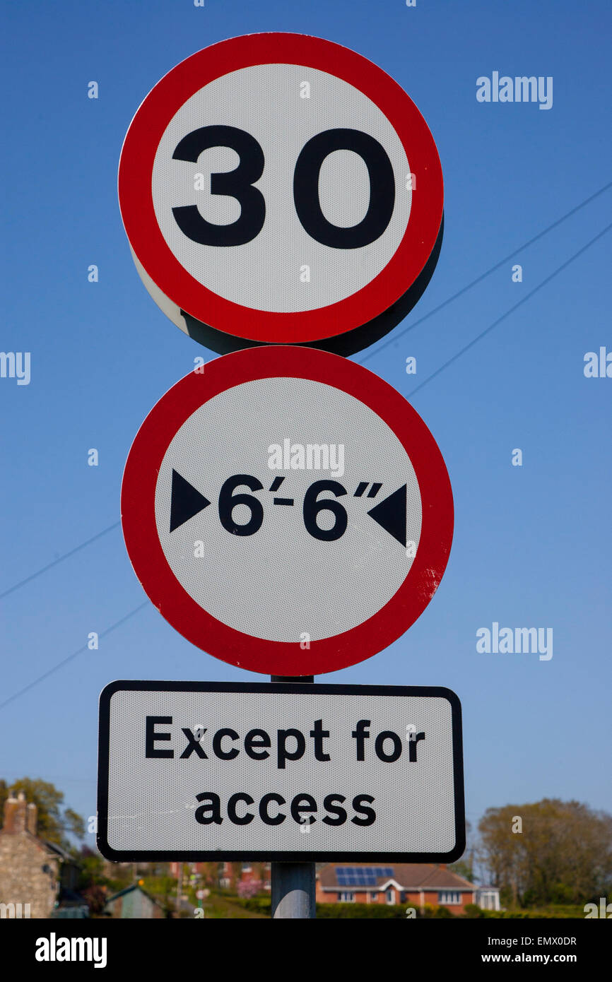 30 miles per hour speed sign, width restriction, except for access, sign, England UK - Stock Image
