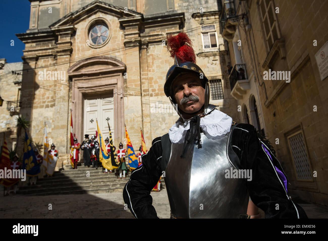 Inguardia Knights of St. John Re-enactment group, in Birgu, in Valletta, Malta - Stock Image
