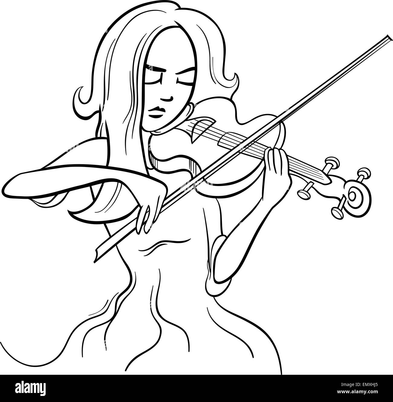 Black and White Cartoon Illustration of Violinist Woman or Beautiful ... for violin cartoon black and white  34eri
