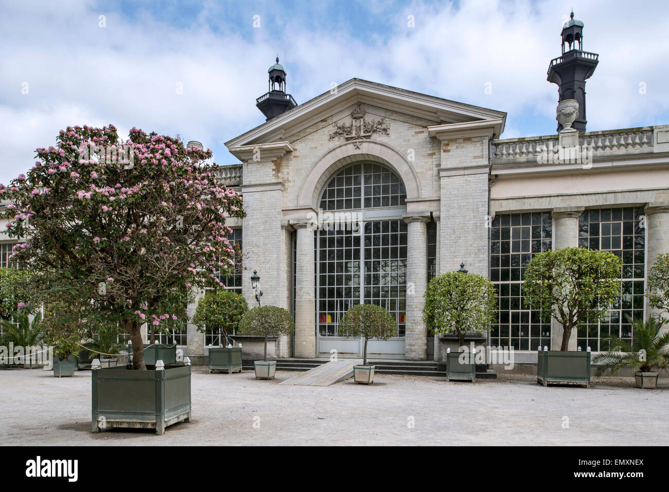 Entrance to the Orangerie at the Royal Greenhouses of Laeken in the park of the Royal Palace of Laken, Brussels, - Stock Image