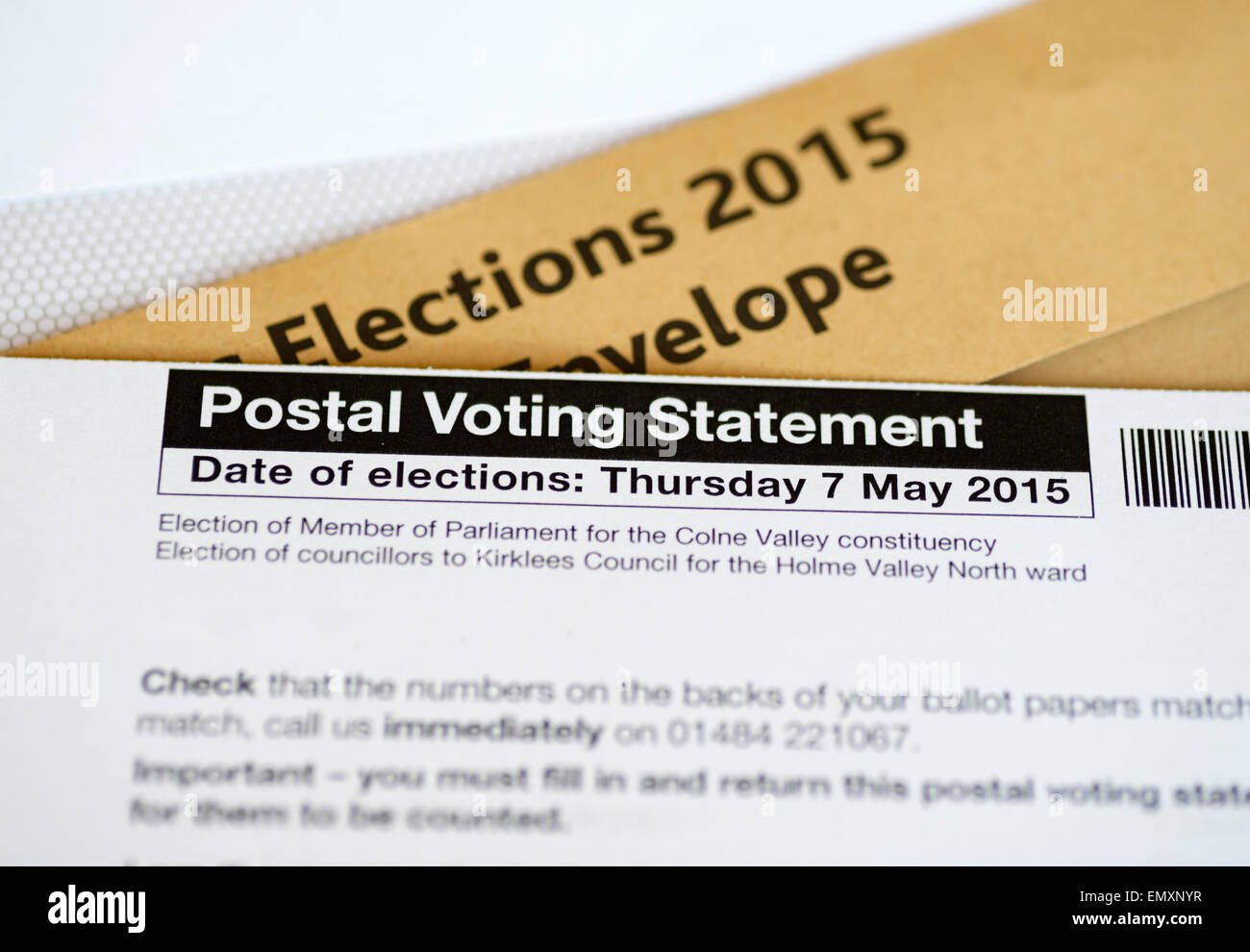 A postal vote for the May 2015 UK Parliamentary General Election, - Stock Image