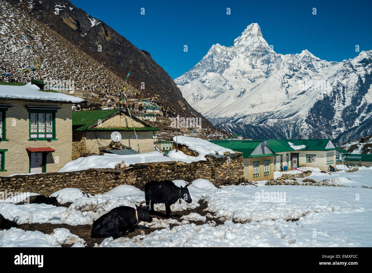 View of Ama Dablam mount from khumjung village - Stock Image
