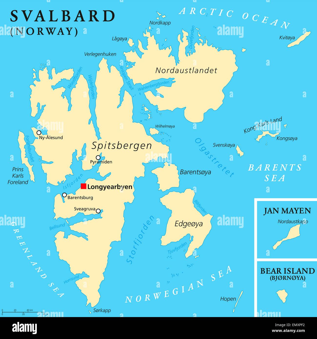Svalbard Political Map Stock Photo: 81723014 - Alamy