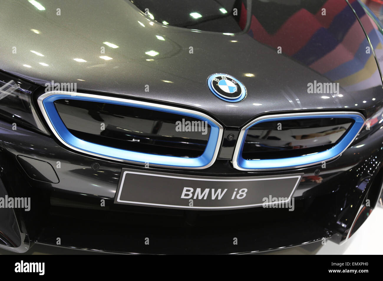ISTANBUL TURKEY APRIL 05 2015 BMW i8 Fujifilm stand during 6. International Photo Digital Photography fair Istanbul. - Stock Image