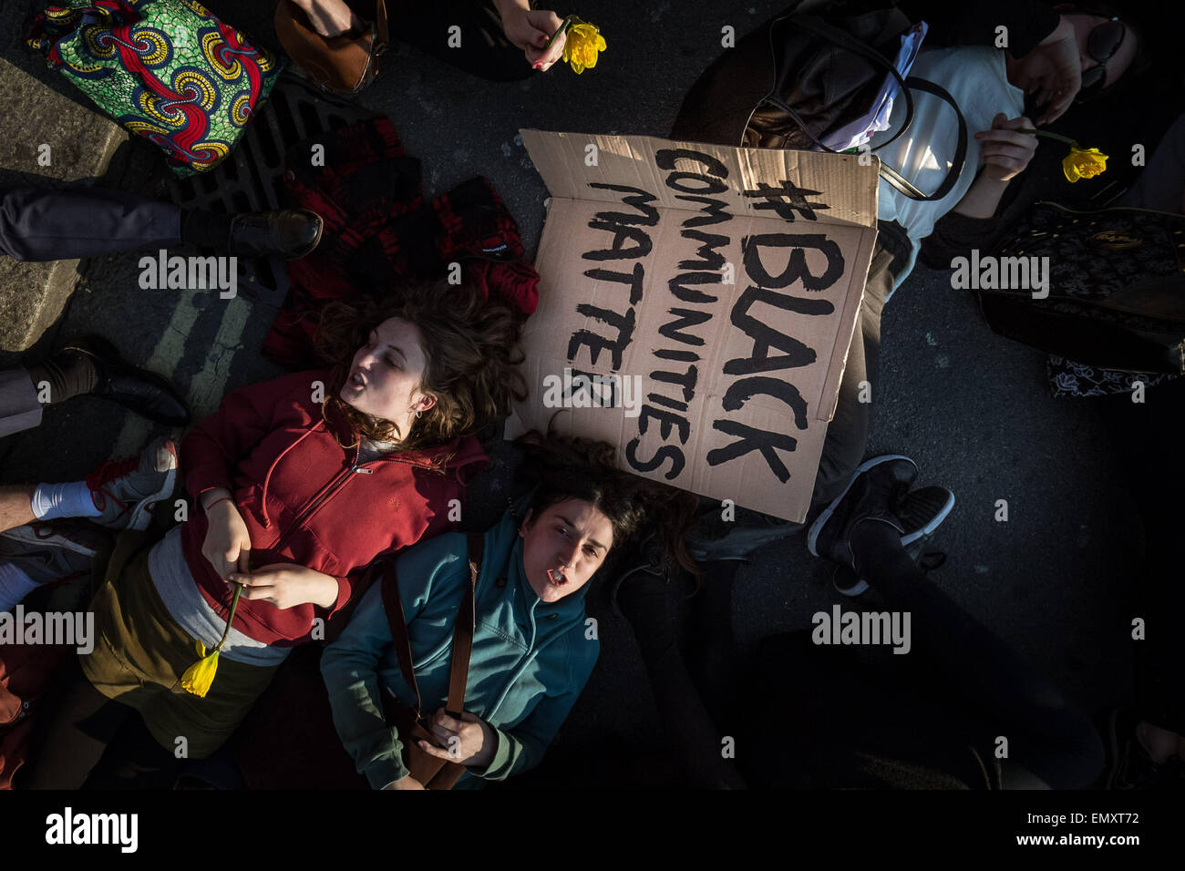 London, UK. 23rd April, 2015. Die-In Protest for Migrants outside Parliament Buildings Credit:  Guy Corbishley/Alamy - Stock Image