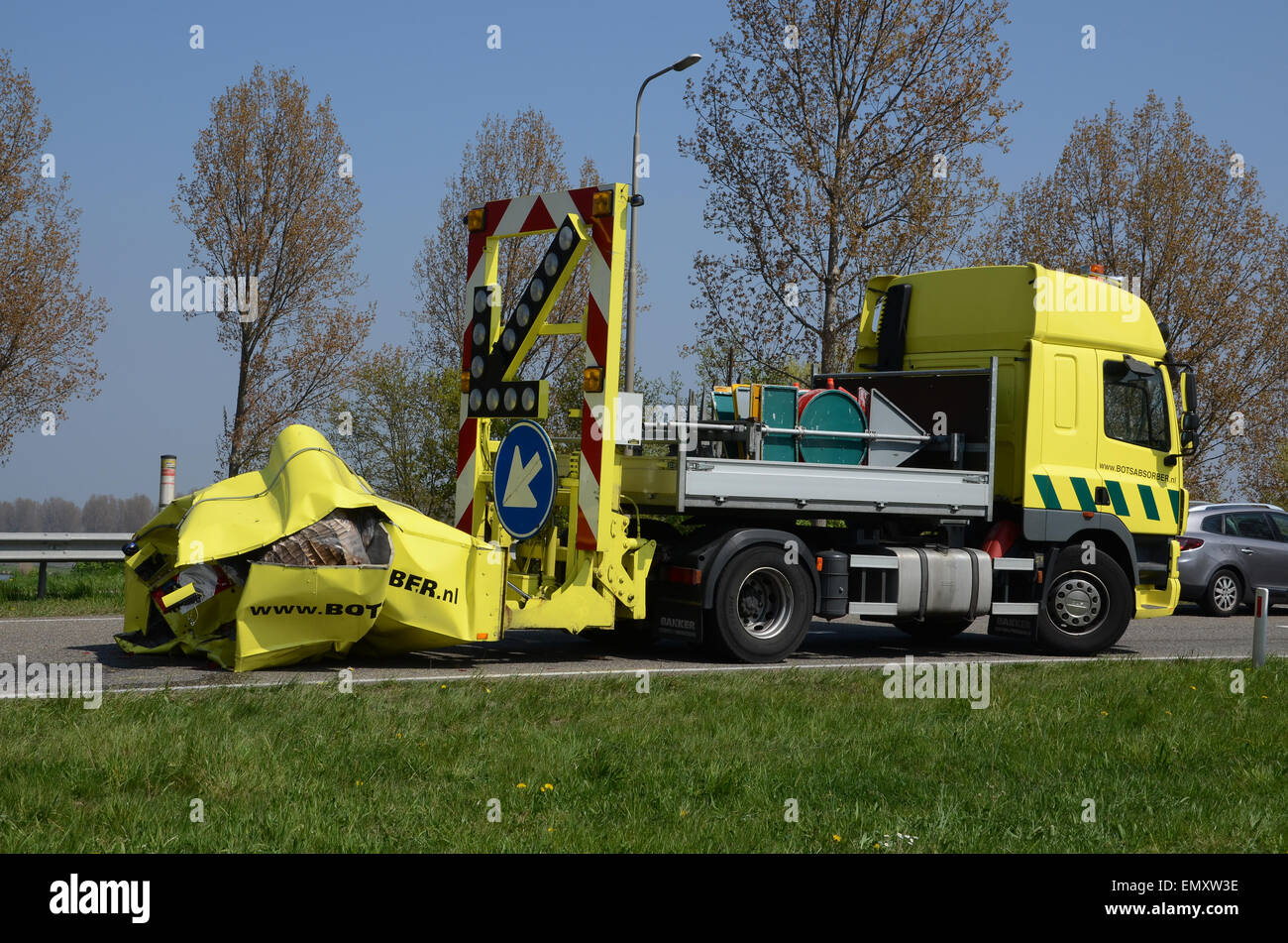 impact protection vehicle for roadworks after collision - Stock Image