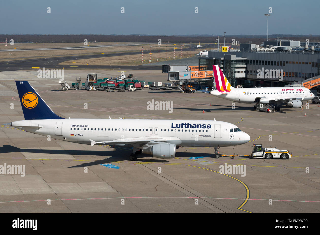 Lufthansa & Germanwings airliners, Dusseldorf International airport Germany. - Stock Image
