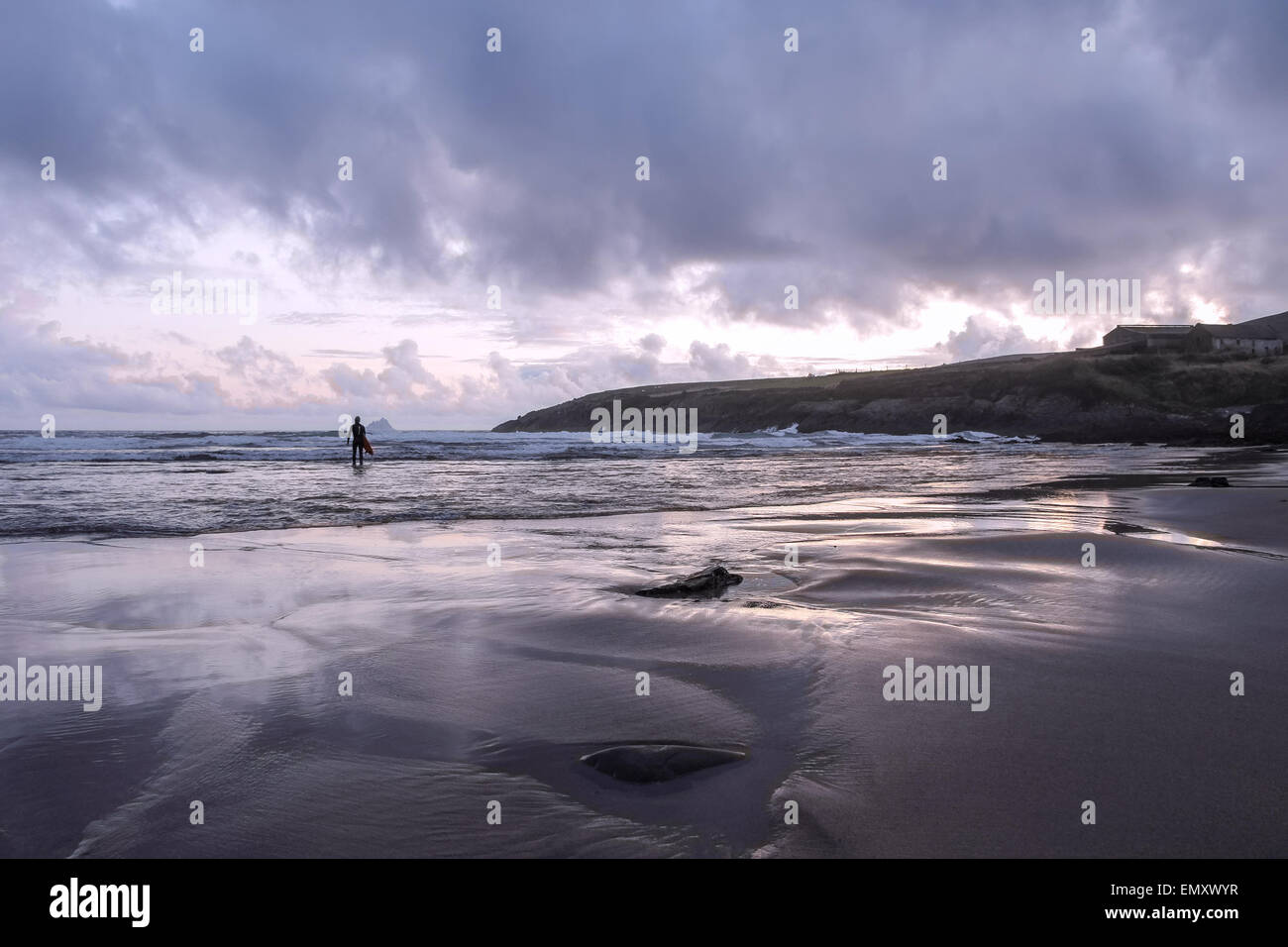 Beach with bad weather and dark clouds, County Kerry, Ireland - Stock Image