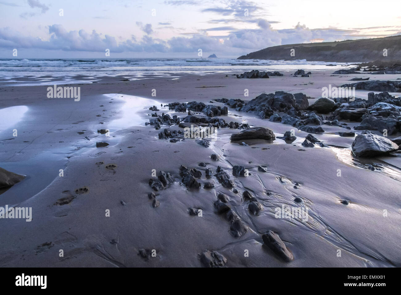 Stones on the beach in bad weather, County Kerry, Ireland - Stock Image