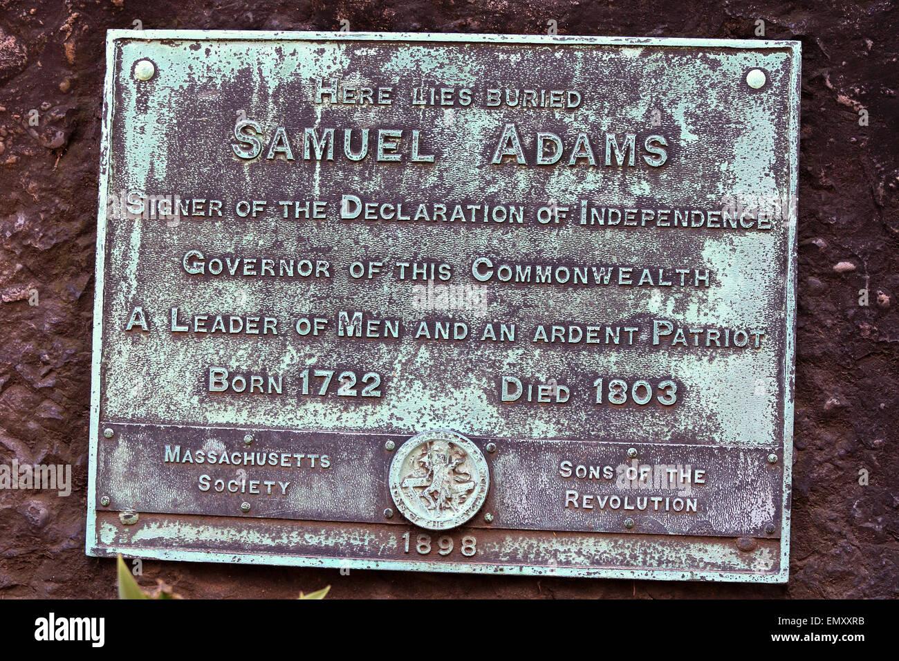 Samuel Adams gravestone marker, Sam Adams. Boston Massachusetts Freedom Trail landmark. - Stock Image