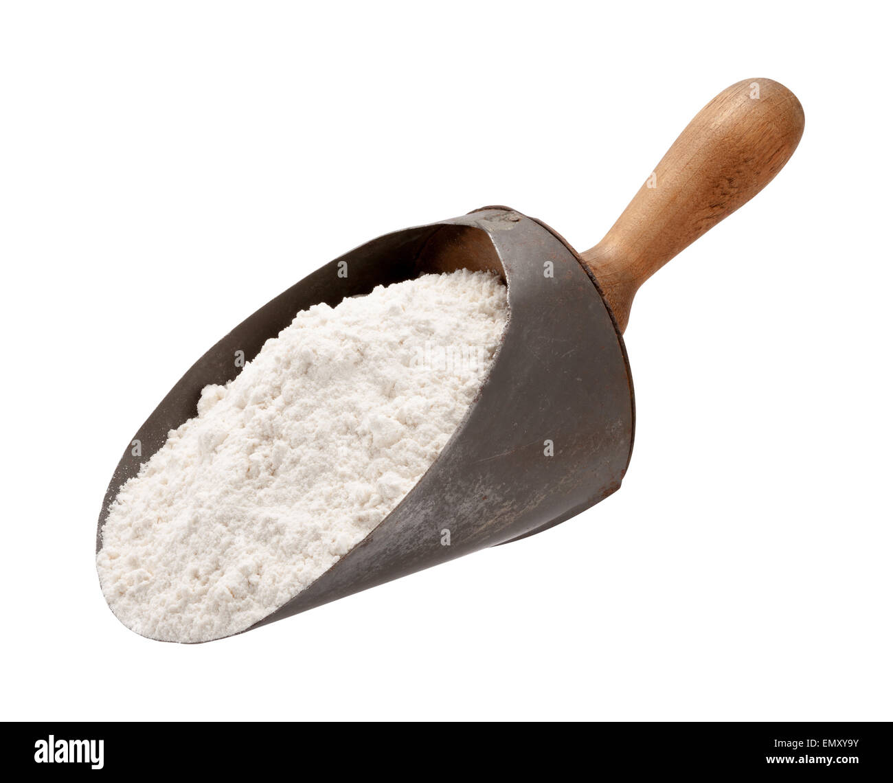 Flour in a Antique Metal Scoop - Stock Image