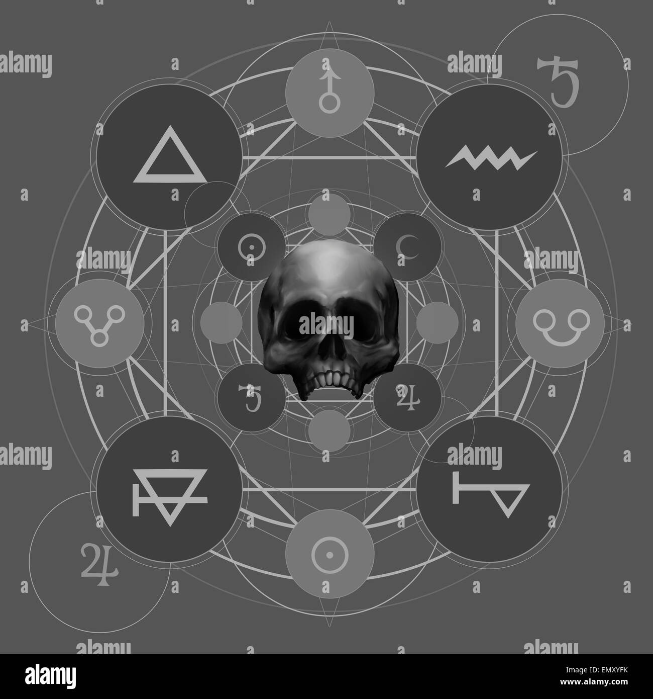 Mystic pentacle. Fantasy alchemy pentacle with signs and skull illustration. - Stock Image