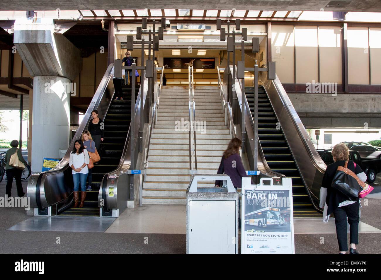 Entrance to the Rockridge BART station in Oakland, California. - Stock Image