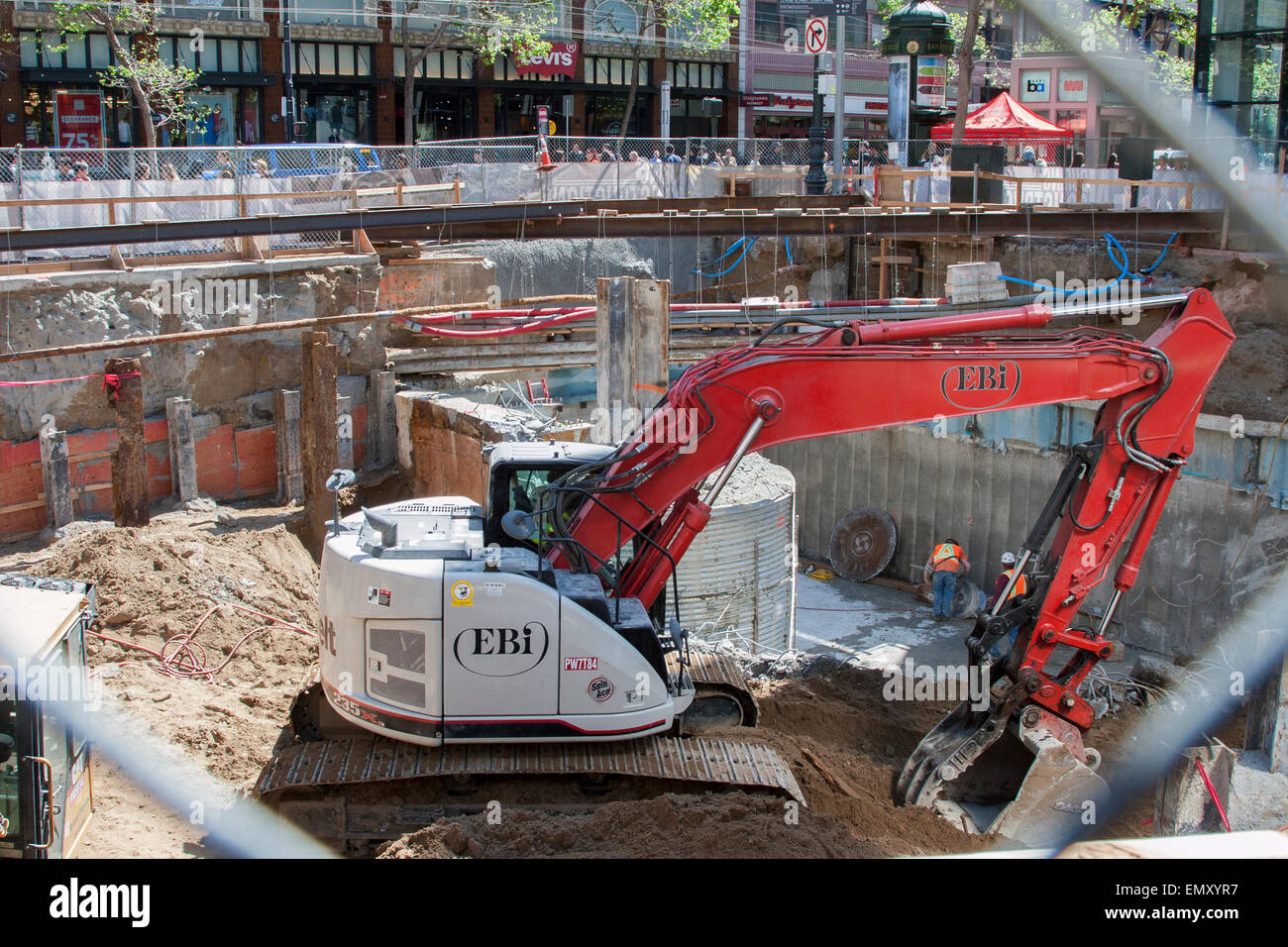 Construction in San Francisco's Union Square area for the new BART line. - Stock Image