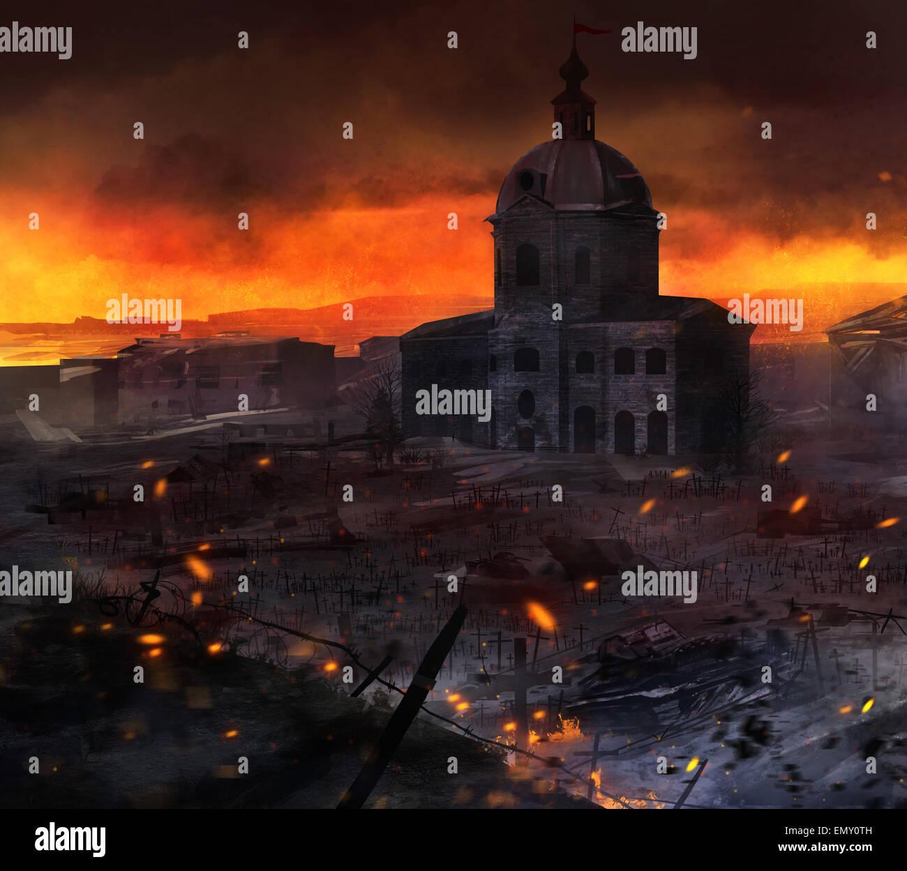 War field art. Illustrated post battle scene with tanks, church & grave crosses background artwork. - Stock Image