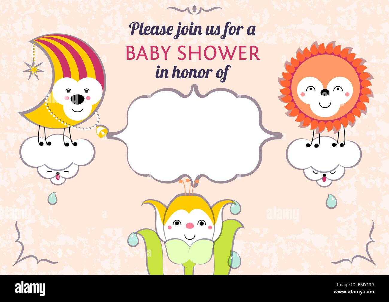 Baby Shower Invitation Card Editable Template Funny Cute Kawaii