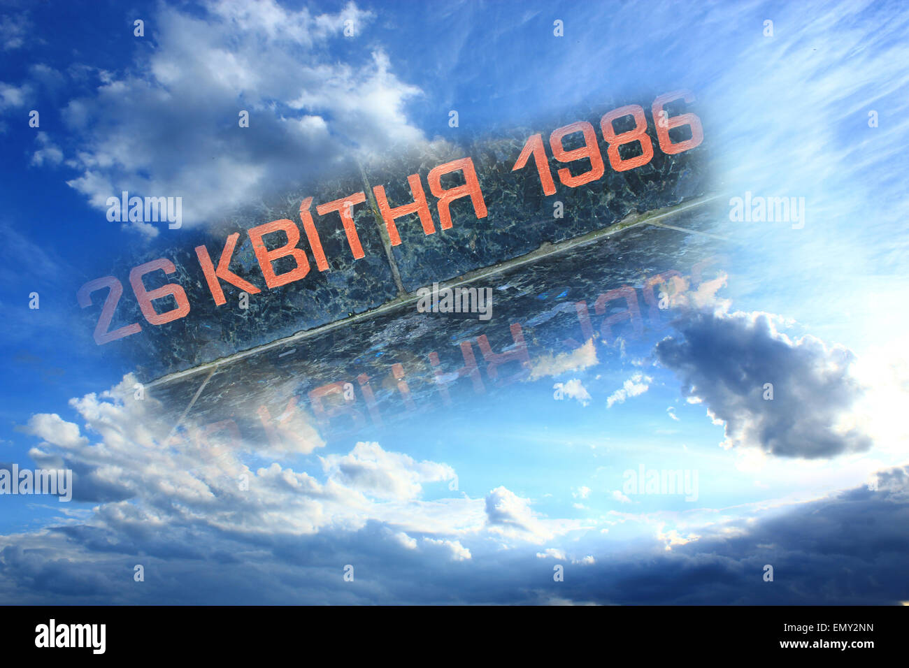 the granitic date of Chernobyl catastrophe in the blue sky - Stock Image
