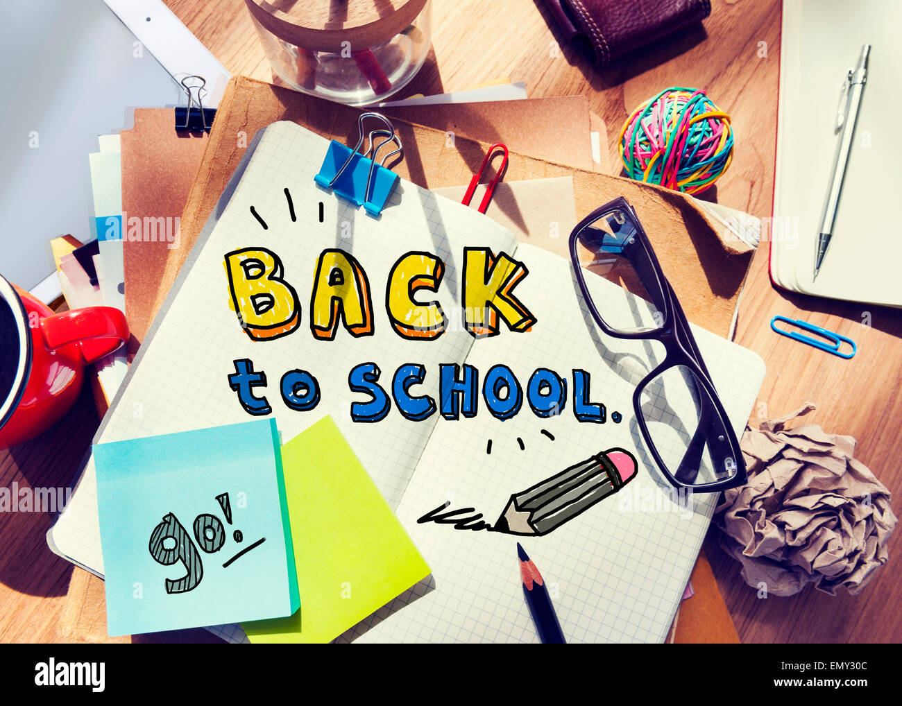 Messy Desk with Back to School Concept - Stock Image