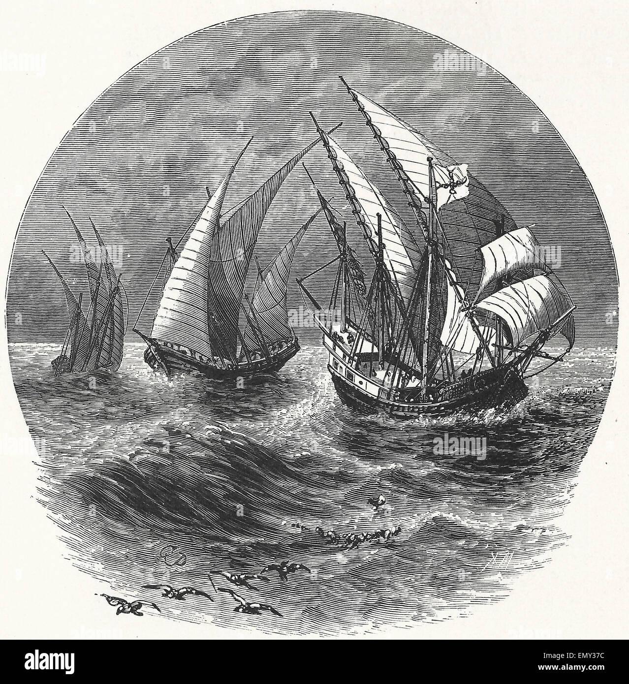 The Ships of Columbus - Nina, Pinta and Santa Maria - Stock Image