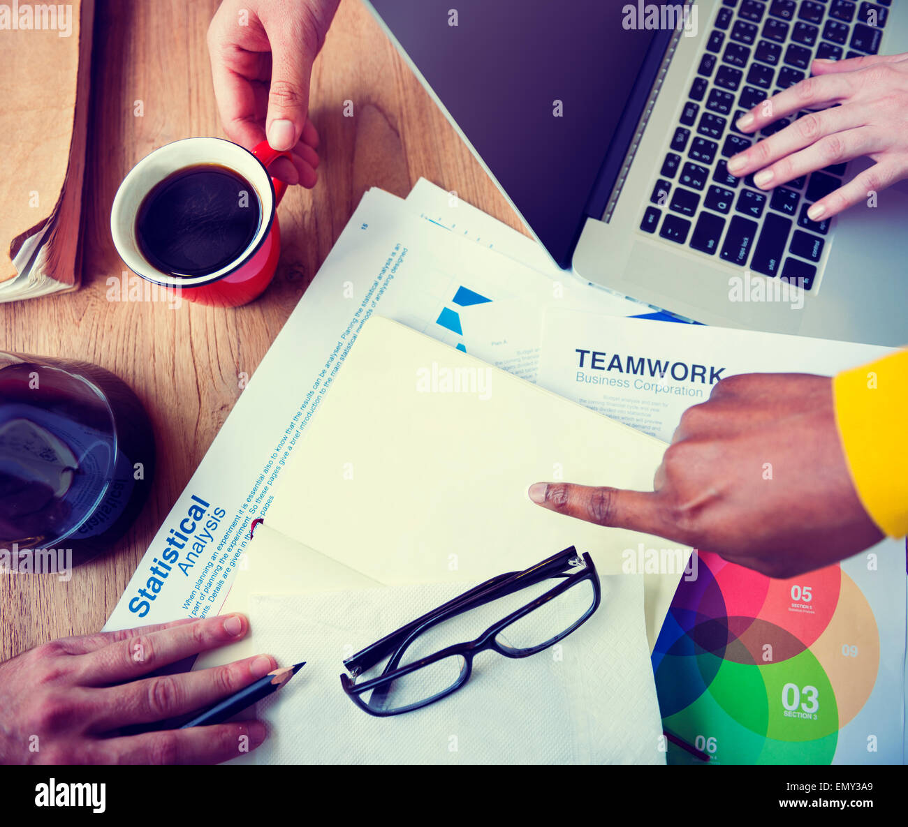 Business People Statistical Analysis Teamwork Concept - Stock Image