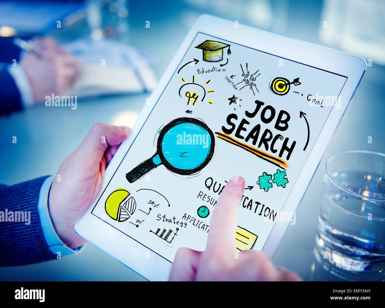 Businessman Digital Devices Job Search Online Concept - Stock Image