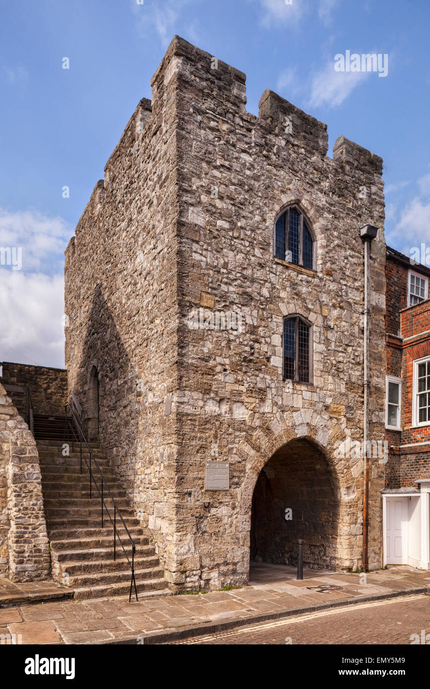 The old Westgate of the city of Southampton. Through this gate marched some of the men who fought at Agincourt, - Stock Image